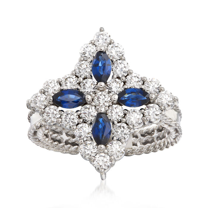 """Roberto Coin """"Princess Flower"""" 1.23 ct. t.w. Diamond and .40 ct. t.w. Sapphire Flower Ring in 18kt White Gold. Size 6.5, , default"""