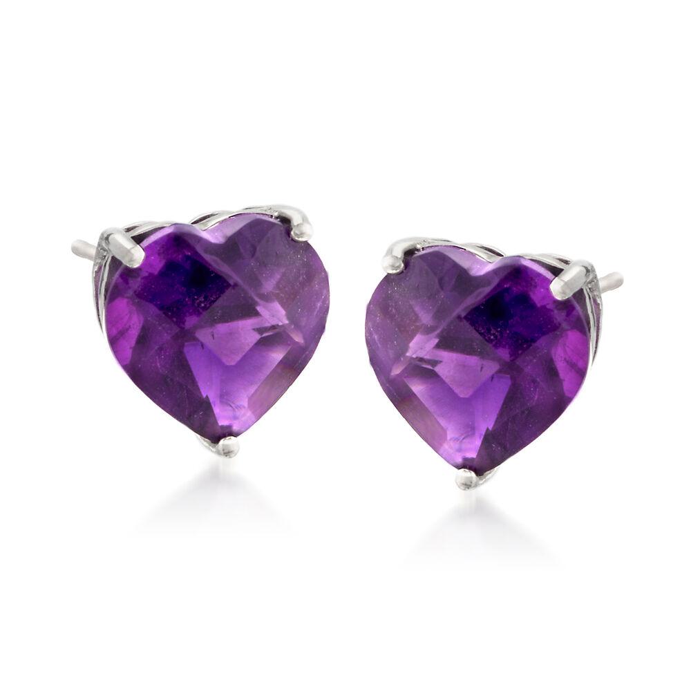 599039609 5.50 ct. t.w. Amethyst Heart Stud Earrings in Sterling Silver   Ross ...