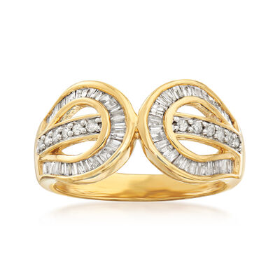 .50 ct. t.w. Diamond Double-Circle Ring in 18kt Gold Over Sterling