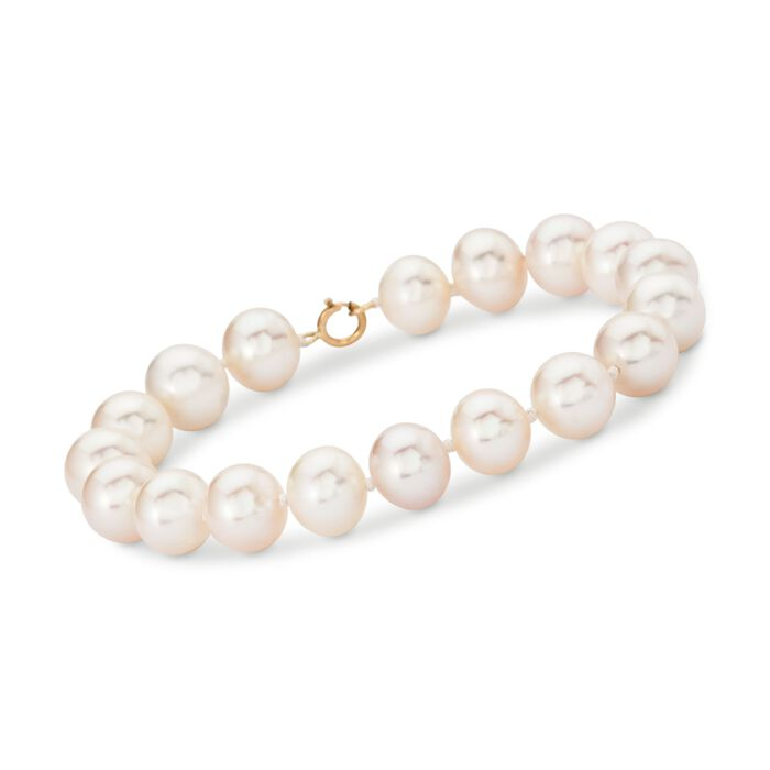 9.5-10.5mm Cultured Pearl Bracelet with 14kt Yellow Gold