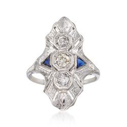 C. 1950 Vintage .40 ct. t.w. Diamond Dinner Ring With Sapphire Accents in 14kt White Gold, , default