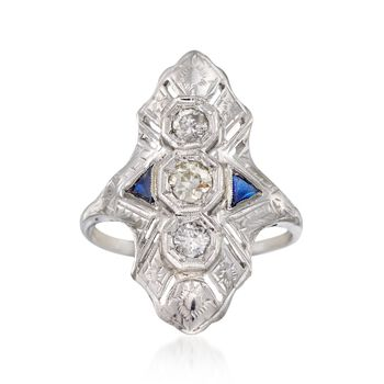 C. 1950 Vintage .40 ct. t.w. Diamond Dinner Ring With Sapphire Accents in 14kt White Gold. Size 7, , default