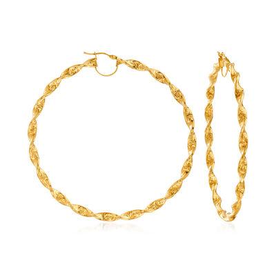 Italian 14kt Yellow Gold Greek Key Hoop Earrings