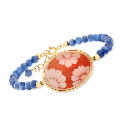 Italian Orange Shell Floral Cameo and 5-6mm Blue Kyanite Bracelet in 14kt Yellow Gold, , default