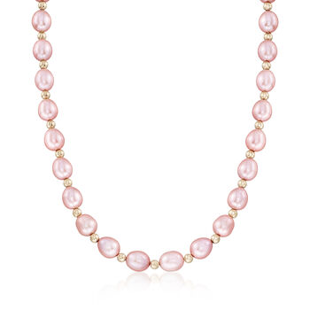 8-9mm Pink Cultured Oval Pearl Necklace With 14kt Yellow Gold, , default