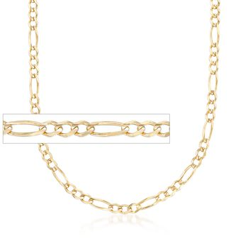 "Men's 3.9mm 14kt Yellow Gold Figaro Chain Necklace. 20"", , default"