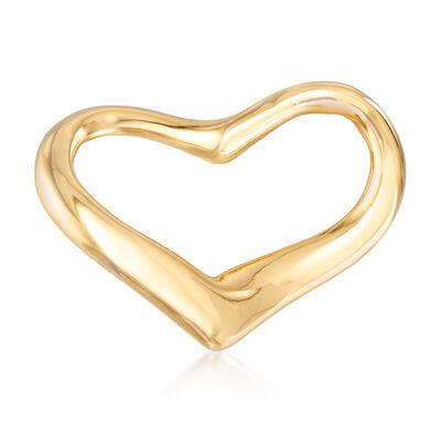 Italian 18kt Yellow Gold Open-Space Heart Pin, , default