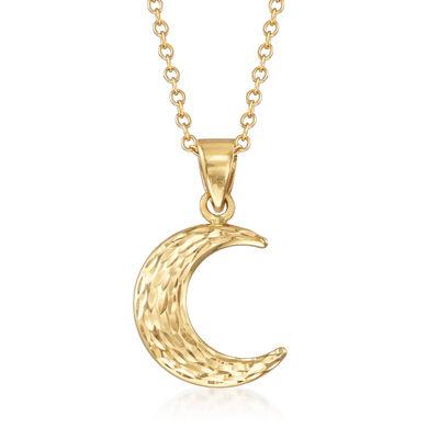 14kt Yellow Gold Crescent Moon Pendant Necklace, , default