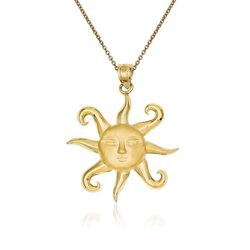 "14kt Yellow Gold Sun Pendant Necklace. 18"", , default"