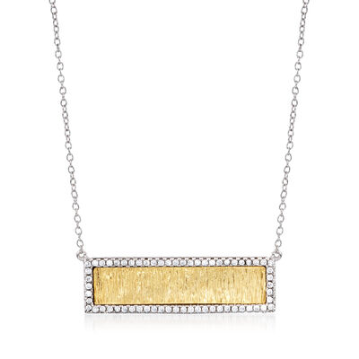 .62 ct. t.w. CZ Textured Bar Necklace in Two-Tone Sterling Silver