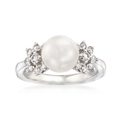Mikimoto 8.5mm A+ Akoya Pearl and .39 ct. t.w. Diamond Ring in 18kt White Gold