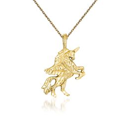 "14kt Yellow Gold Textured and Diamond-Cut Unicorn Necklace. 18"", , default"