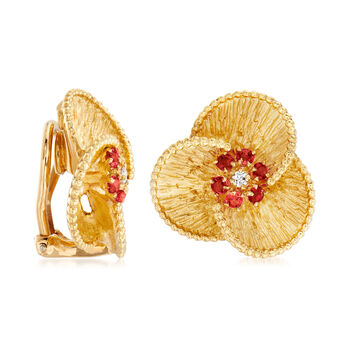 C. 1980 Vintage .75 ct. t.w. Ruby Flower Clip-On Earrings with Diamond Accents in 18kt Yellow Gold, , default