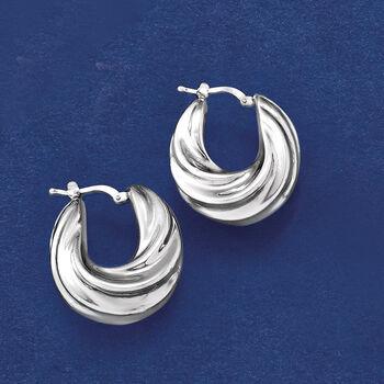 """Italian Sterling Silver Pleated Twist Hoop Earrings. 1"""""""