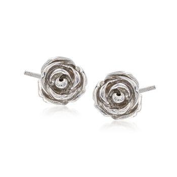 Sterling Silver Rose Flower Stud Earrings, , default