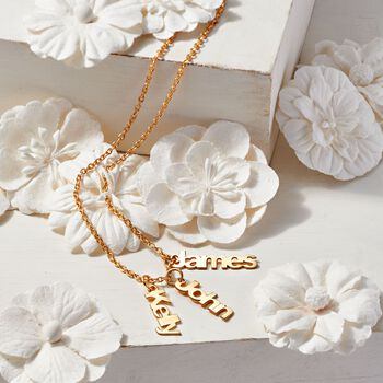 14kt Yellow Gold Personalized Name Charm Necklace, , default