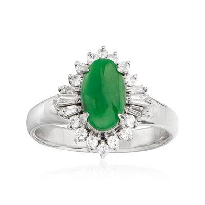 C. 1990 Vintage Jade and .32 ct. t.w. Diamond Ring in Platinum