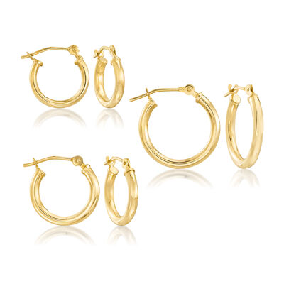14kt Yellow Gold Jewelry Set: Three Pairs of Hoop Earrings