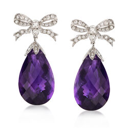 C. 1990 Vintage 33.00 ct. t.w. Amethyst and .85 ct. t.w. Diamond Bow Drop Earrings in 14kt White Gold, , default