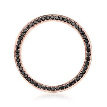 Henri Daussi Men's 5mm 14kt Rose Gold Wedding Ring with .80 ct. t.w. Black Diamonds. Size 10, , default