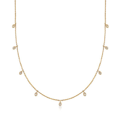 .28 ct. t.w. Diamond Station Necklace in 14kt Yellow Gold , , default