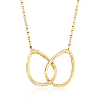 14kt Yellow Gold Double Teardrop Necklace , , default