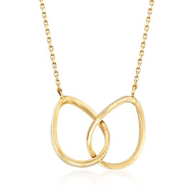14kt Yellow Gold Double Teardrop Necklace , , default