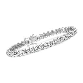 2.00 ct. t.w. Diamond Bar Tennis Bracelet in Sterling Silver, , default
