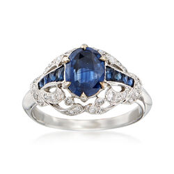 C. 2000 Vintage 1.65 ct. t.w. Sapphire and .35 ct. t.w. Diamond Ring in 18kt White Gold. Size 6.75, , default