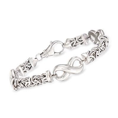 Sterling Silver Byzantine Infinity Station Bracelet