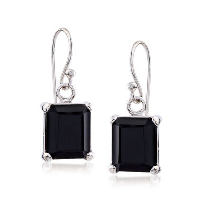 10x8mm Emerald-Cut Black Onyx Drop Earrings in Sterling Silver, , default