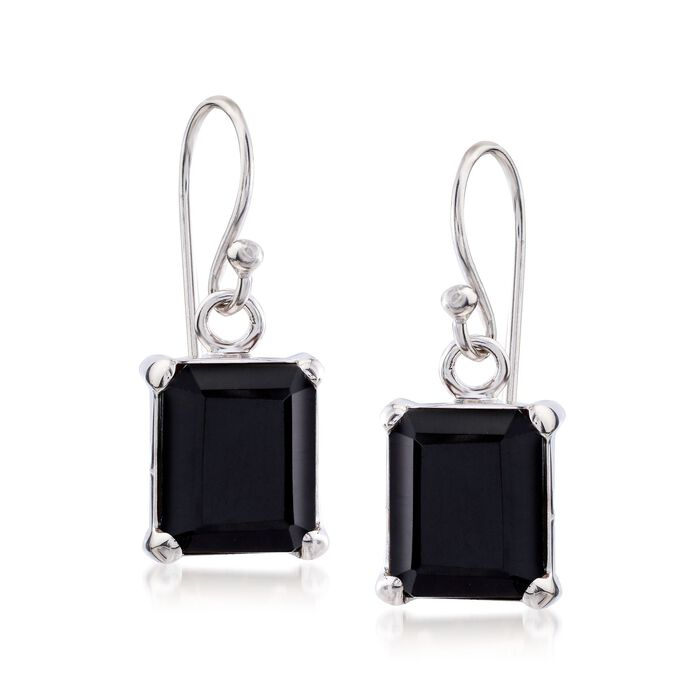 10x8mm Emerald-Cut Black Onyx Drop Earrings in Sterling Silver