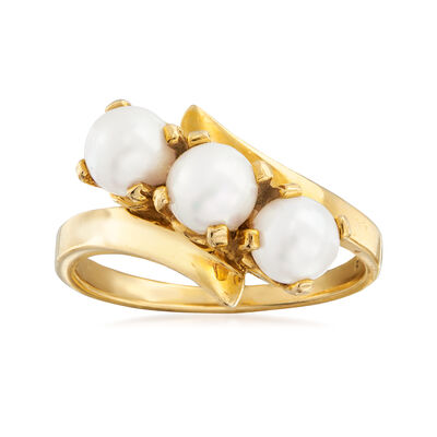 C. 1980 Vintage Diagonal 5mm Cultured Pearl  Ring in 14kt Yellow Gold, , default