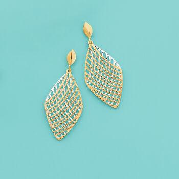 Italian 14kt Two-Tone Gold Cross Wire Diamond-Shaped Drop Earrings