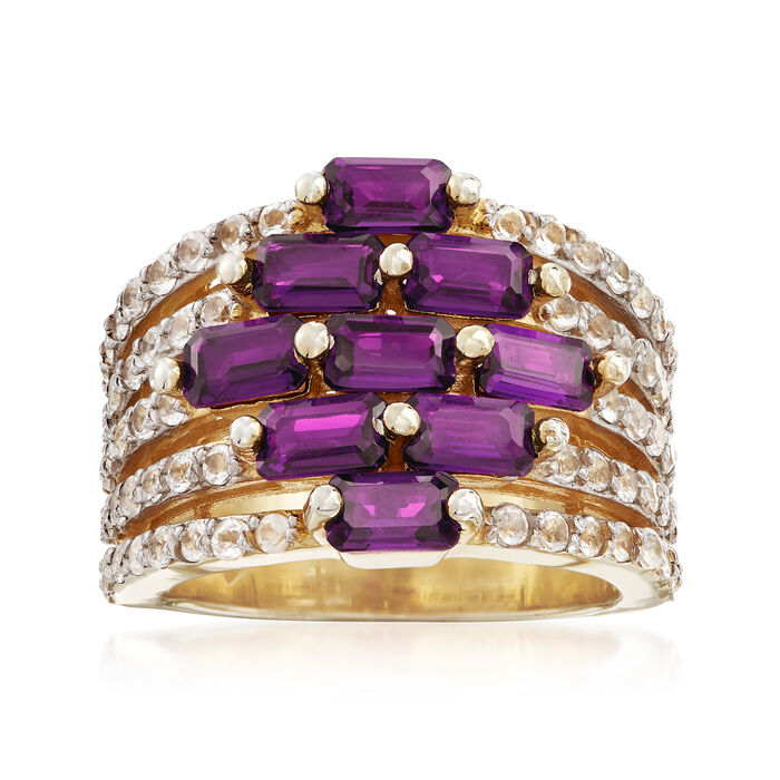 3.40 ct. t.w. Amethyst and .60 ct. t.w. White Topaz Multi-Row Ring in 18kt Gold Over Sterling