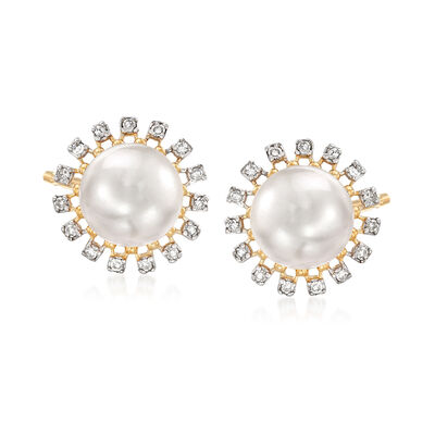 7mm Cultured Pearl and .12 ct. t.w. Diamond Earrings in 14kt Yellow Gold