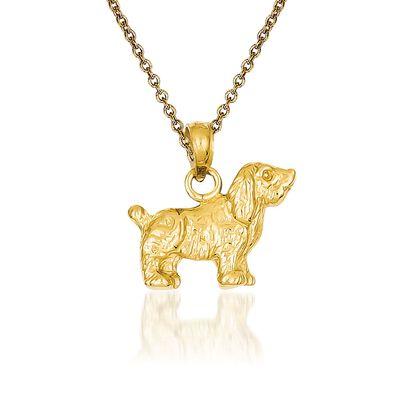 14kt Yellow Gold Cocker Spaniel Pendant Necklace, , default