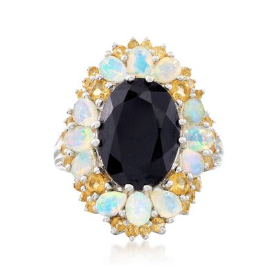 6.75 Carat Black Spinel and Opal Ring with 1.00 ct. t.w. Citrines in Sterling Silver, , default