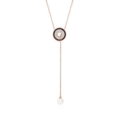"Swarovski Crystal ""Lollypop"" Pearl Bullseye Lariat Necklace in Rose Gold-Plated Metal, , default"