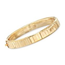 14kt Yellow Gold Over Sterling Silver Striped Bangle Bracelet, , default