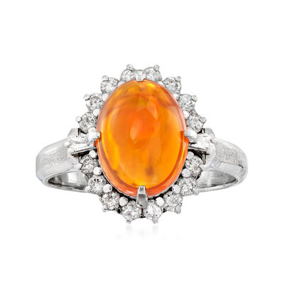 C. 1990 Vintage Fire Opal and .35 ct. t.w. Diamond Halo Ring in Platinum
