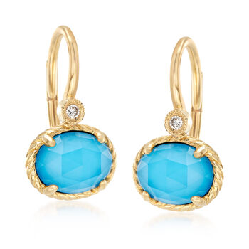 Gabriel Designs Synthetic Turquoise and 2.20 ct. t.w. Rock Crystal Quartz with Diamond Accents in 14kt Gold, , default