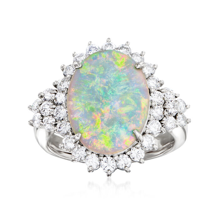 C. 1980 Vintage Opal and 1.07 ct. t.w. Diamond Ring in Platinum. Size 6
