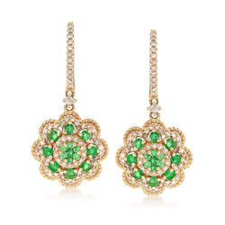 .36 ct. t.w. Emerald and .43 ct. t.w. Diamond Drop Earrings in 14kt Yellow Gold , , default