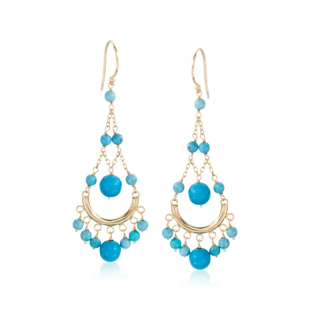 Turquoise Chandelier Earrings In 14kt Yellow Gold Default
