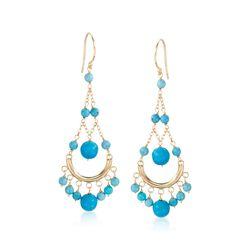 Turquoise Chandelier Earrings in 14kt Yellow Gold, , default