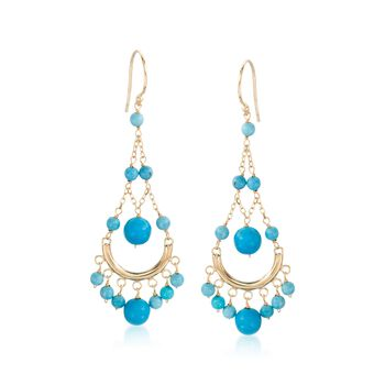 Turquoise Chandelier Earrings in 14kt Yellow Gold, , default