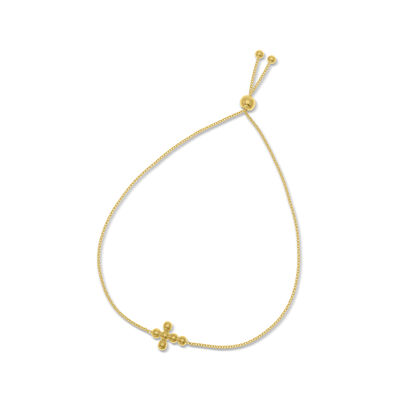 14kt Yellow Gold Beaded Cross Bolo Bracelet