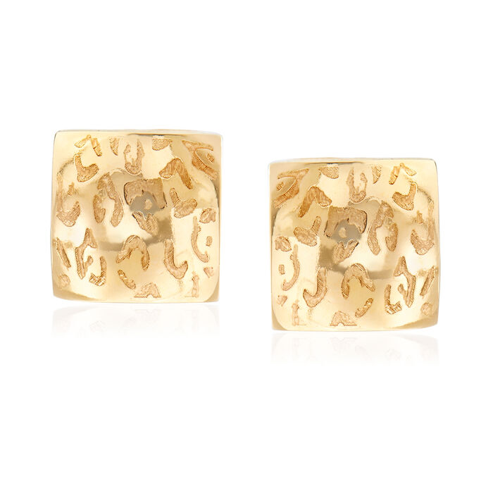 Italian 14kt Yellow Gold Leopard-Print Square Earrings, , default