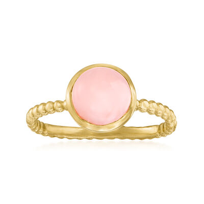 Pink Opal Roped Ring in 18kt Gold Over Sterling